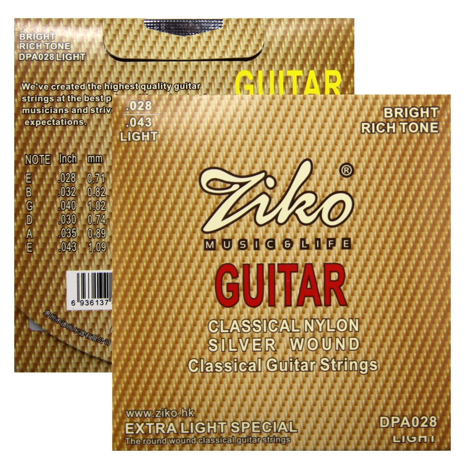 Cuerdas de guitarra ZIKO, nailon clásico plateado, plateado, 028-043 pulgadas, tono brillante