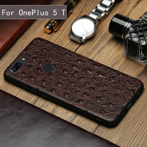 Luxury Genuine Leather Phone Case For Oneplus 5 5T 9 9T Silicone Edge Luxury Ostrich Texture Utral Slim Phone cover