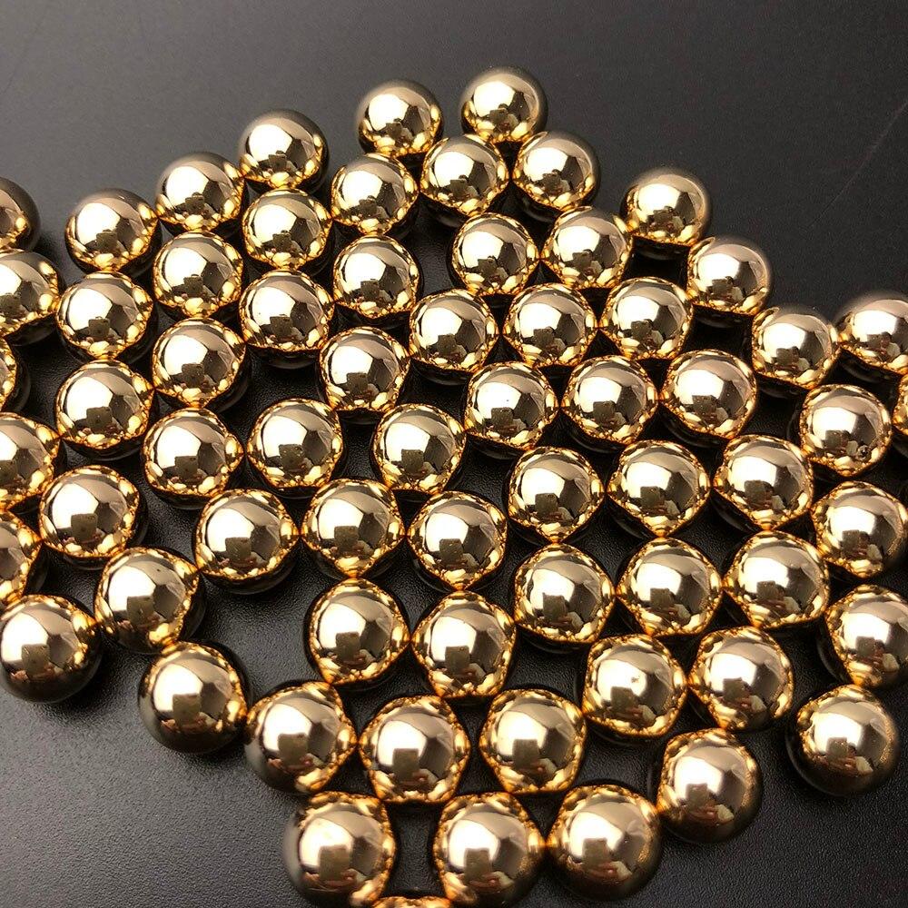 Круглые золотые жемчужные шарики без отверстия, 100 шт./лот, 6 мм 8 мм 10 мм, высокое качество АБС для украшения свадьбы, ювелирных изделий своими руками