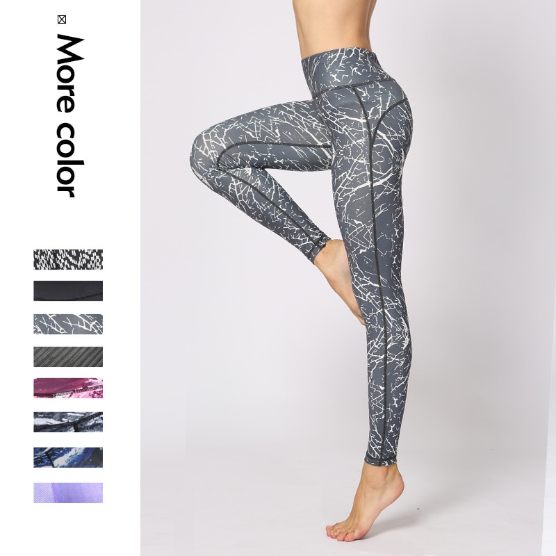 New ladies dot colorful printing tight  pants quick-drying fitness trousers running hiking and other outdoor sports