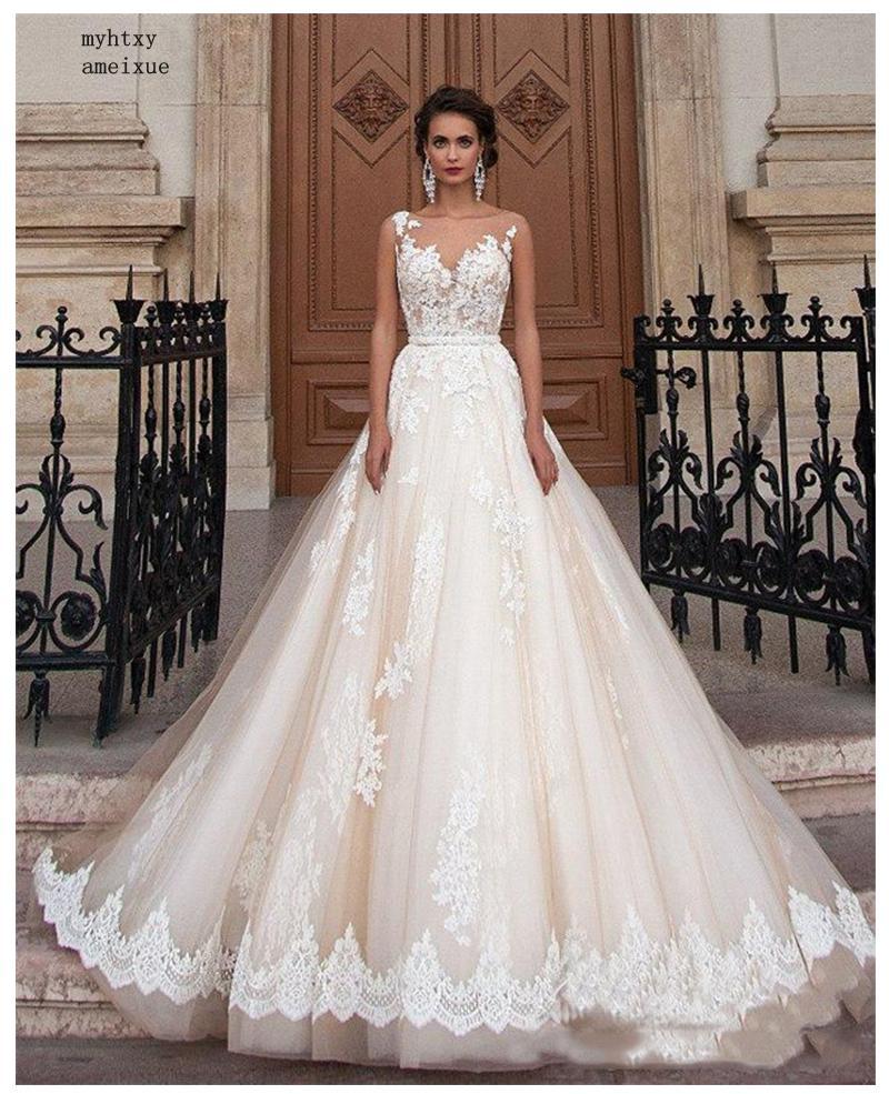 Sleeveless Elegante EINE Linie Appliqued Spitze Günstige Hochzeit Kleider 2020 Informelle Brautkleider Illusion Brautkleid Kleid Weiß