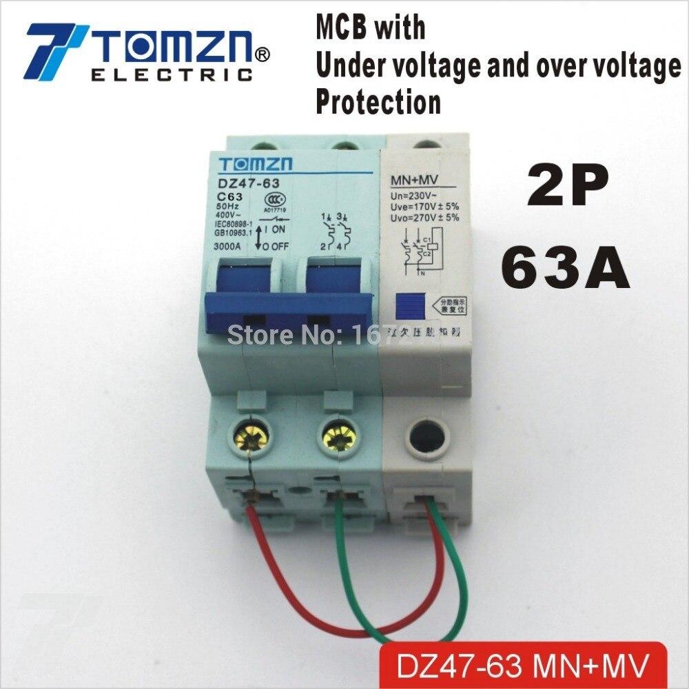 2P 63A 400V ~ 50Hz/60Hz Mcb Mn + Mv Met Overspanning En Onder voltage Bescherming Mini Stroomonderbreker