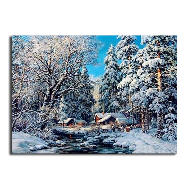 DIY 3D Diamond mosaic Winter Snow Full Round Diamond painting Forest Full Square Diamond embroidery Cross stitch landscape