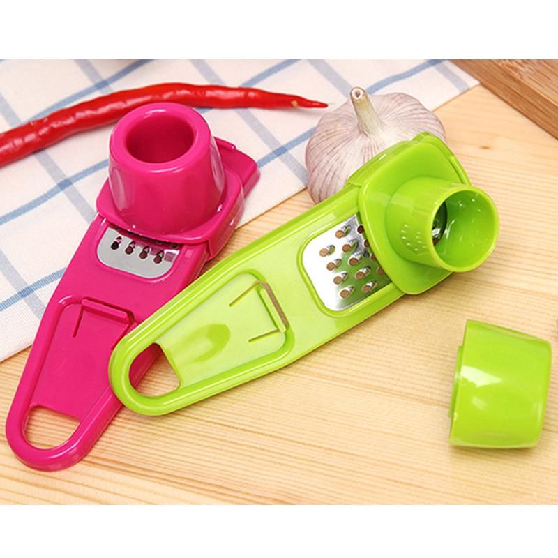 Prensa Ralladora 1 Uds rallador de ajo Mini trituración de jengibre herramientas de frutas y verduras cortadora de prensa de ajo cortador de plástico acero inoxidable