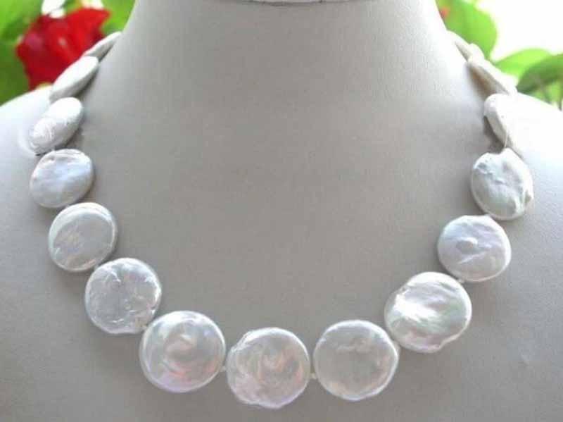 """18 """"collar de perlas naturales genuinas 20mm perla moneda blanca collar"""