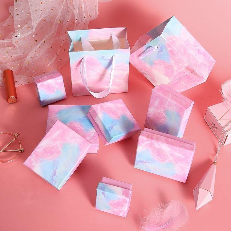 Céu estrelado Cor Sacolas de Papel Kraft Caixa de Presente Da Jóia Para Diy Acessórios Para Embalagem Colar Brinco Pulseira Anel de Exibição