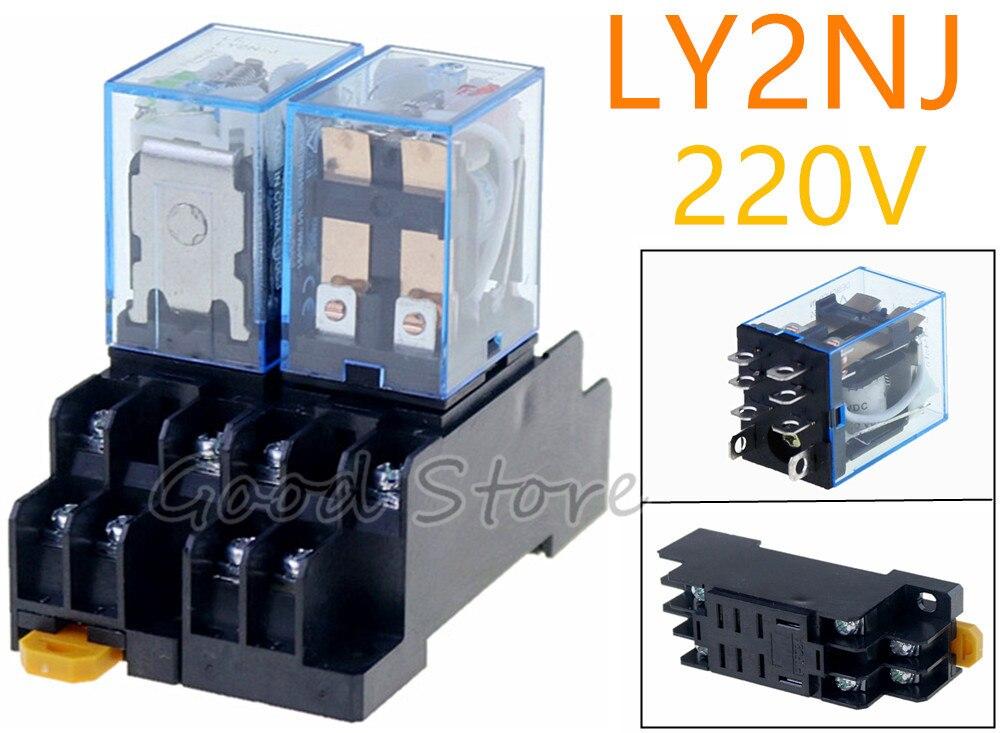 Conjunto 220 v AC DC 10A 1 LY2NJ HH62P HHC68A-2Z Bobina Power Relay DPDT Com Soquete Base de New