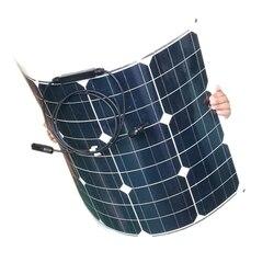 Eficiência monocristalina semi flexível portátil 50w 12v à prova dwaterproof água solar carregador móvel barco acampamento caravana carro rv luz led