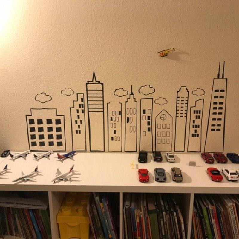 City Skyline Creative Decorative Vinyl Art Mural Sticker for Kids Room Playroom Nursery Decor