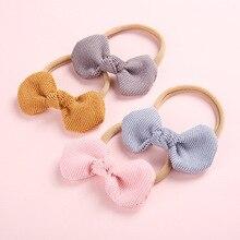 Cute Corduroy Fabric Hair Bow Nylon Headbands for Children Fashion Girls Hair Accessories Wholesale Head Wrap Hairband for Kids