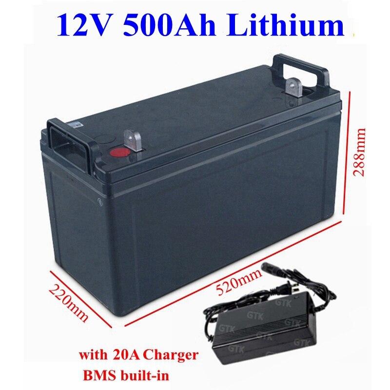 Paquete de batería de iones de litio recargable 12V, 500Ah, 600Ah, con BMS para sistema de emergencia, Sistema solar, almacenamiento de emergencia + cargador 20A