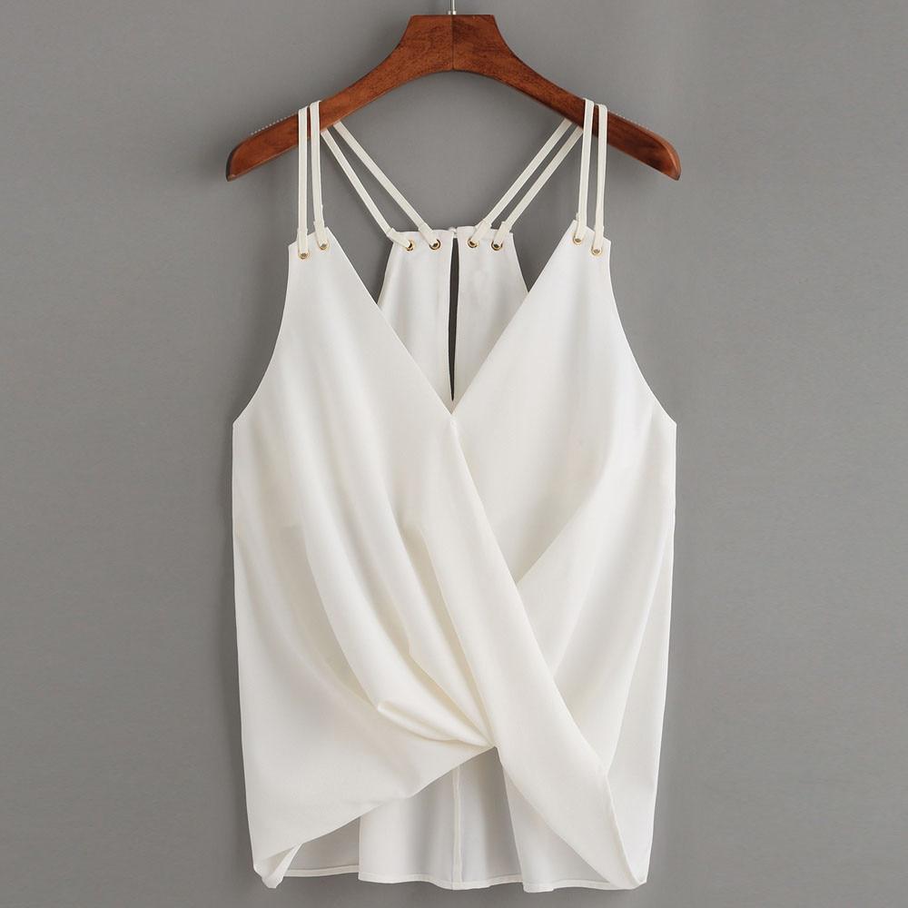 Women Casual loose Sleeveless Top modis summer Fold Vest Tank Shirt off shoulder Blouse Cami Top poleras mujer 2020 new #j3s