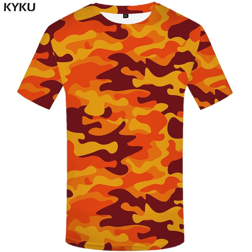 KYKU Orange Camouflage T shirt Men Camo Tshirts Casual Military Anime Clothes Colorful T-shirts 3d Gothic Tshirt Printed