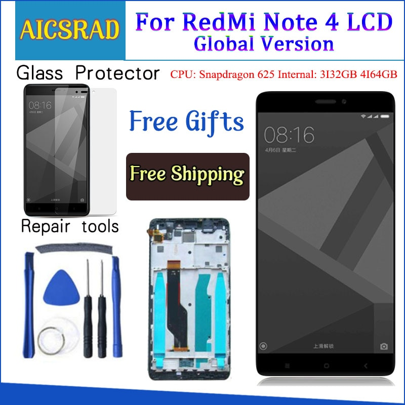 Tested LCD Display +Frame For Xiaomi Redmi Note 4 Global Version Snapdragon 625 Touch Screen LCD Dig