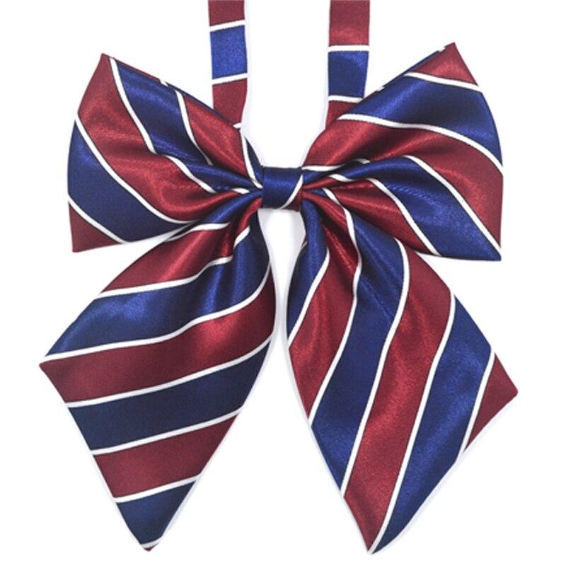 Heißer Verkauf Fliege Für Frauen Hohe Schule Mädchen Student Cosplay Uniform Anzug Zubehör Krawatte Schmetterling Knoten Gestreiften Blau