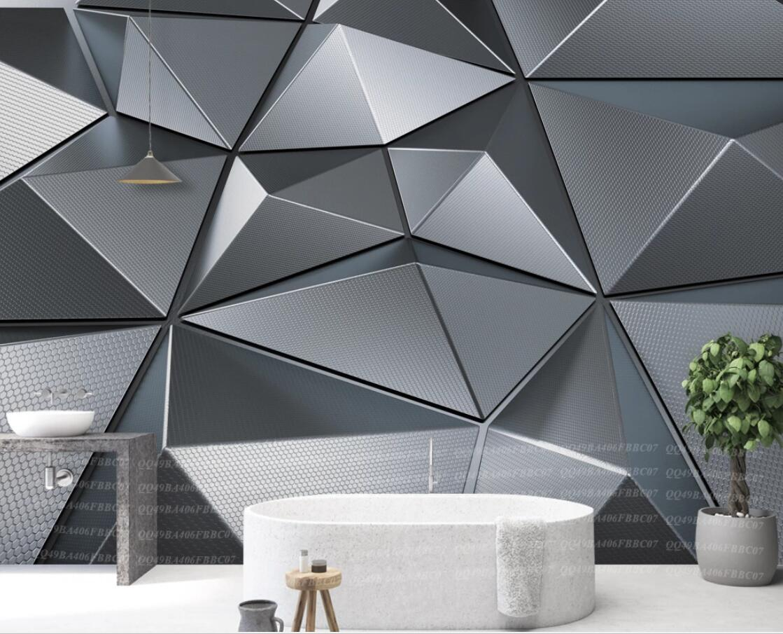 Foto personalizada murales de pared 3d patrón geométrico Papel pintado de Metal papeles de pared Papel Mural Madera lienzo textura Papel tapiz