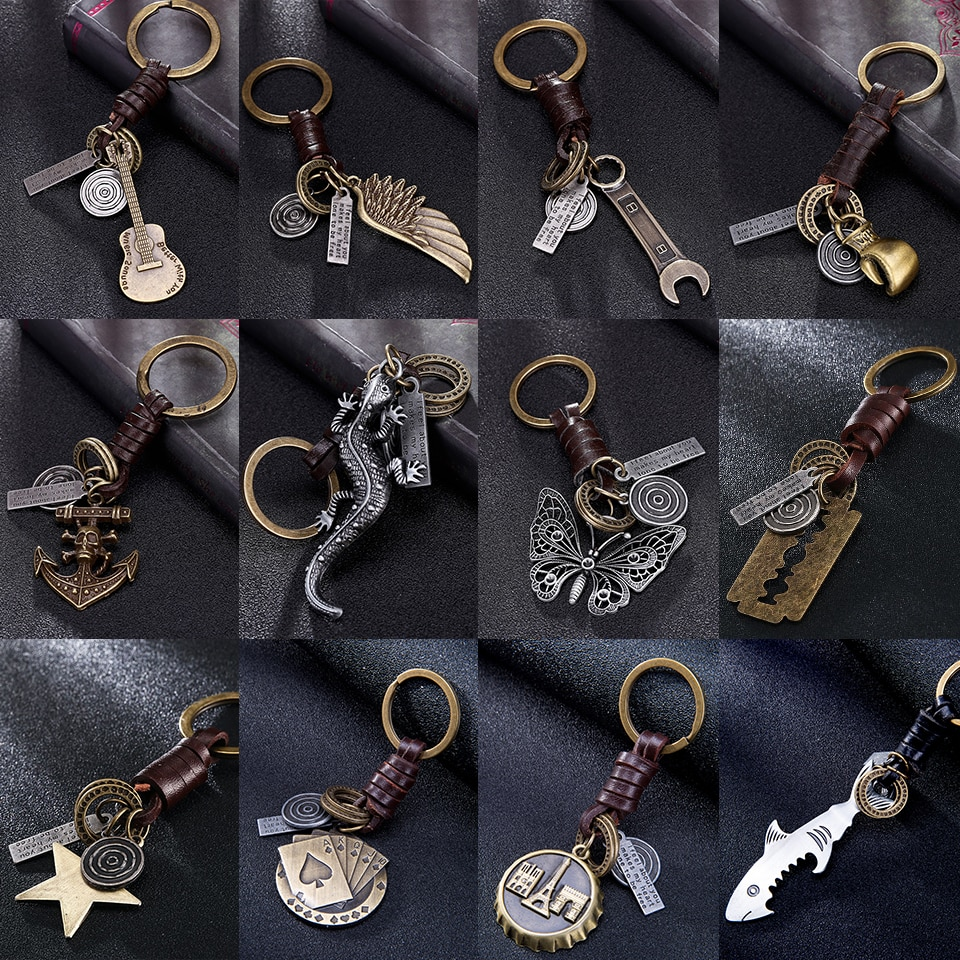 Multiple Guitar Butterfly Pendant Suspension Leather Keychain Key Chain Charms for Keys Car Keys Acc