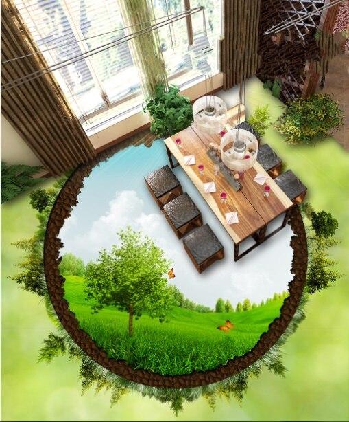 [Auto-adhesivo] 3D Butterfly Lawn Sky 4 foto antideslizante impermeable autoadhesiva suelo Mural pegatina papel pintado murales impresión calcomanía