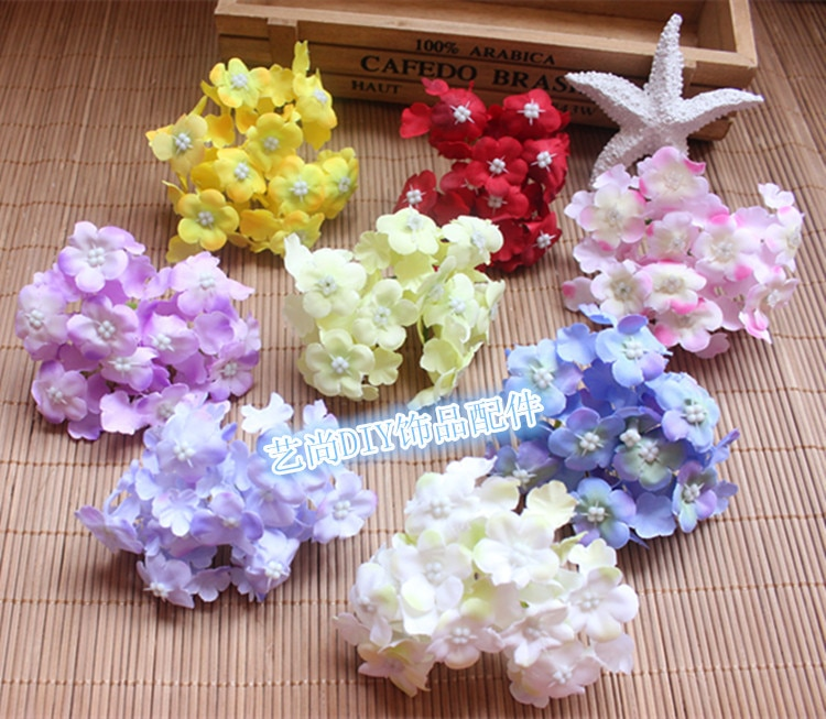 Cabezas de hortensia de tela de tacto Real de alta calidad, arreglos de flores de seda Artificial, bolas de flores de boda DIY, centros de mesa