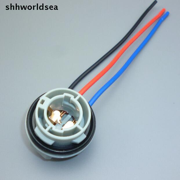 Shhworldsea 1157 py21/5 led suporte da lâmpada do bulbo chicote de fios plug conector fiação extensão luzes de freio pisca luzes soquete
