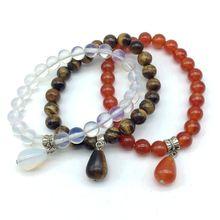 12 couleurs mode pierre perles Bracelets porte-bonheur élastique 8 mm cornaline bracelet avec pierre assortie goutte pendentifs bijoux