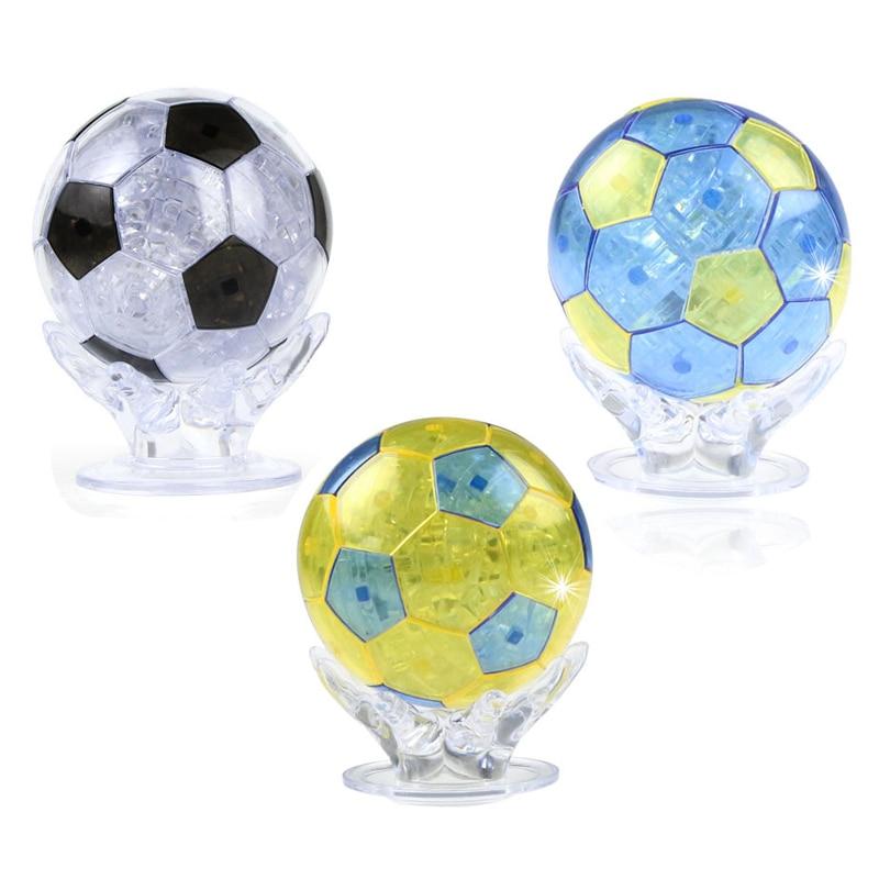 Coolplay 77PCS 3D Puzzle Football Jigsaw DIY Assembly Soccer Crystal Model Toy Flashing Soccer Crystal Brain Teaser Decoration }