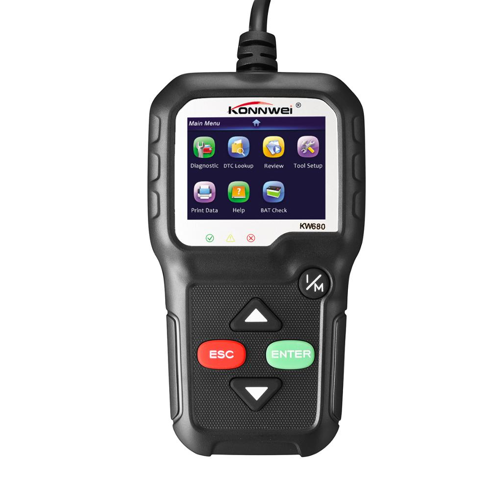 KW680 OBD2 Scanner OBD Car Diagnostic Auto Diagnostic Tool Read Clear Fault Error Codes Russian OBD2 Automotive Scanner Black