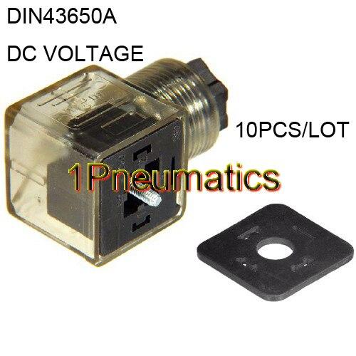 Freies Verschiffen 10 teile/los Din 43650-A Linie-Buchse Stecker für Magnetventil Spulen Anschluss DIN43650A Led-anzeige DC VOLT