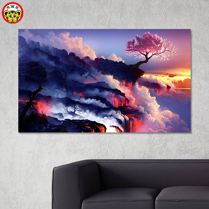Pintura por números, pintura artística por números, pintura digital DIY, hermoso paisaje magma, decoración de sala de estar, decoración de pintura, decoración