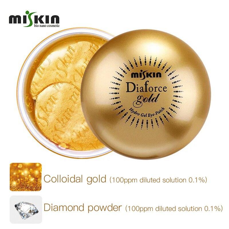 Corea Miskin Diaforce oro hidrolizado colágeno parche para ojos de Gel 60 hojas parche debajo del ojo antiarrugas producto para eliminar las ojeras