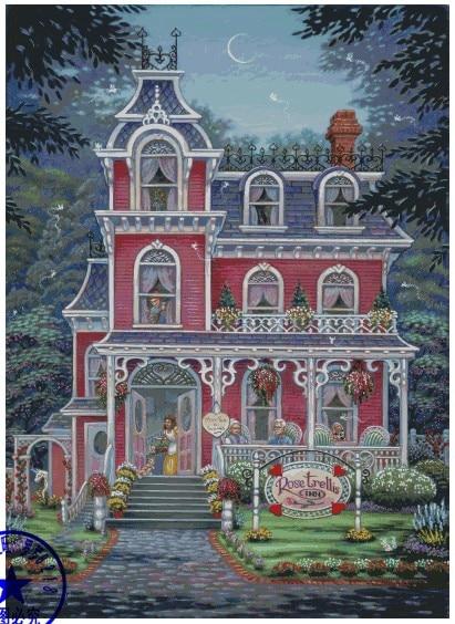 Top Qualität schöne schöne gezählt kreuz stich kit rose spalier inn haus villa