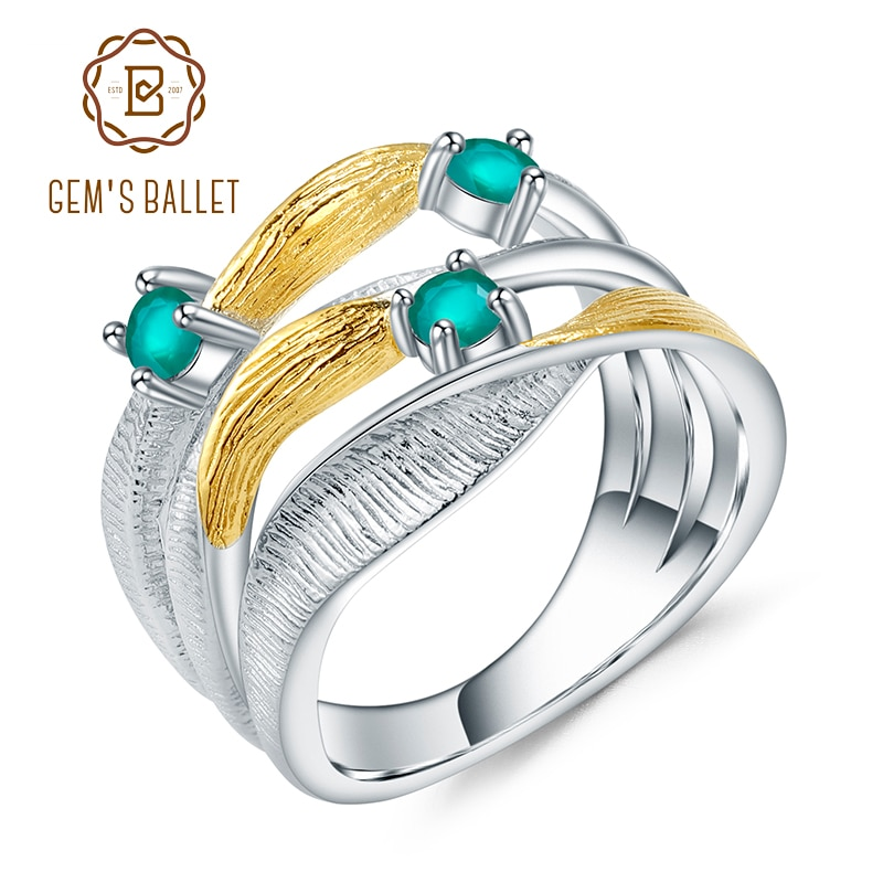 GEMS BALLET 0.47Ct Natural ágata verde piedras preciosas anillo 925 plata esterlina hecho a mano banda Twist anillos para mujeres joyería fina