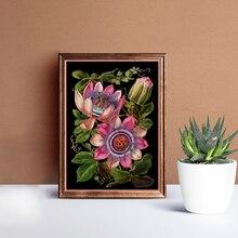 Affiche de toile dart botanique Antique victorien   Affiche imprimée de Passion Fower, peinture de fond noir, décoration murale pour la maison