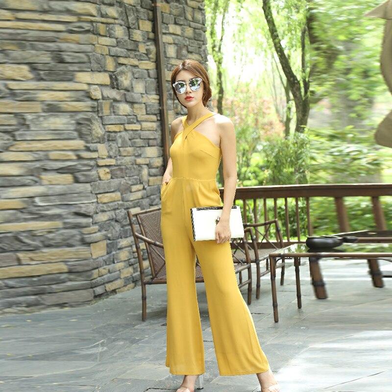 Mono Amarillo de verano para mujer, de chifón, elegante, para fiesta, largo completo, monos de pierna ancha de talla grande 3XL 4XL