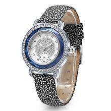 TIME100 Women Watches Quartz Wrist Watch ocean series shark Leather Strap Diamond Engagement Dual Dial Clock deep blue horloge