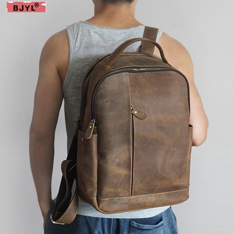 BJYL-حقيبة ظهر جلدية أصلية للرجال ، حقيبة كتف للكمبيوتر المحمول ، حقيبة سفر