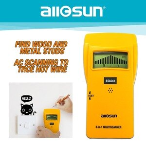 ALL SUN 3In1 Metal Detector Find Meta lWood Studs AC Voltage Live Wire Detect Wall Scanner Electric Finder Wall Detector TS79