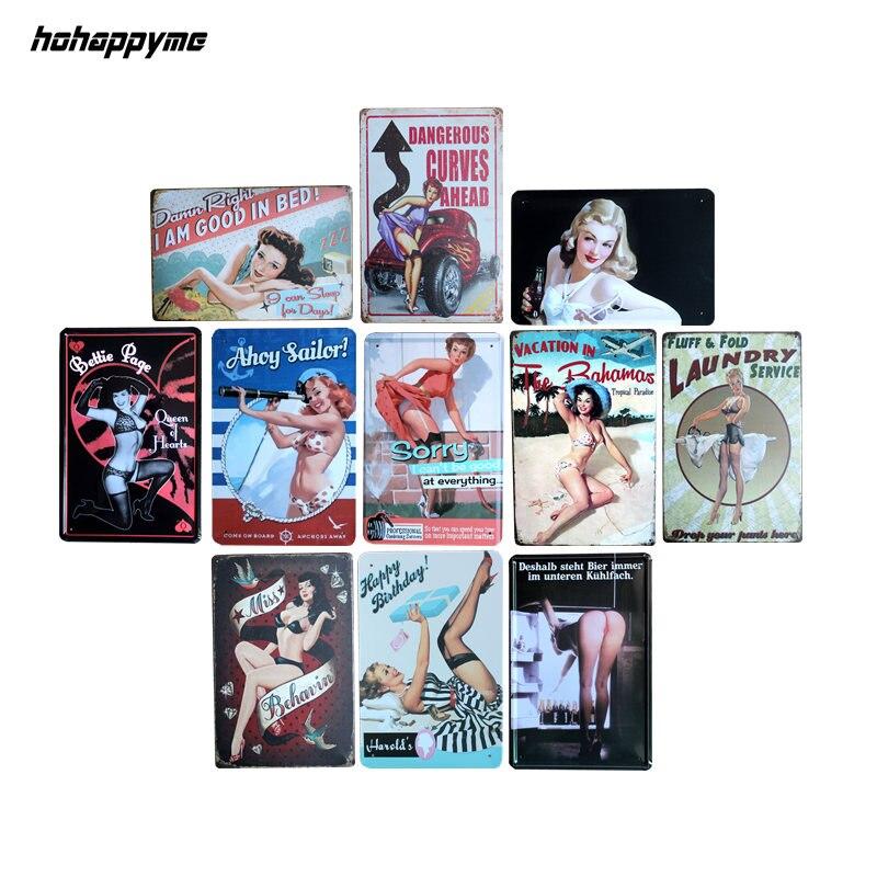 Moderne Mädchen Vintage Metall Zeichen Wohnkultur Cafe Bar Dekoration Plaque Pub Dekorative Metall Wand Kunst Platten Zinn Zeichen Retro 20X30