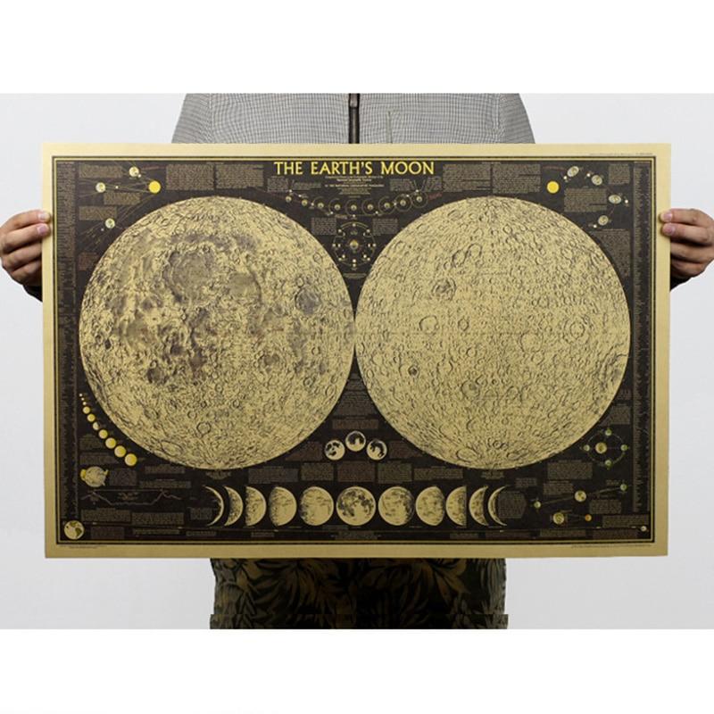 Diagrama de fase lunar, pegatinas de pared de mapa Retro, impresiones de cartel de adorno Vintage, Centro de pintura decorativa para sala de estar, papel Kraft