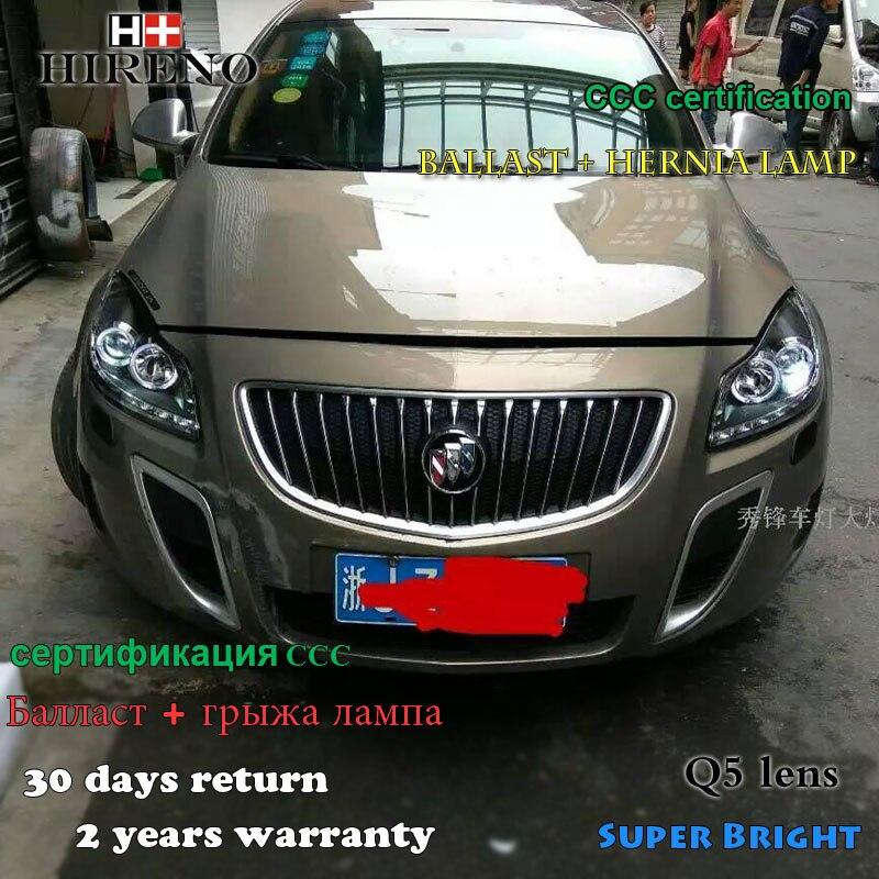 2009-2013 년 Hireno 전조등 Buick Regal Opel 휘장 헤드 라이트 어셈블리 LED DRL 천사 렌즈 이중 빔 HID 크세논 2pcs