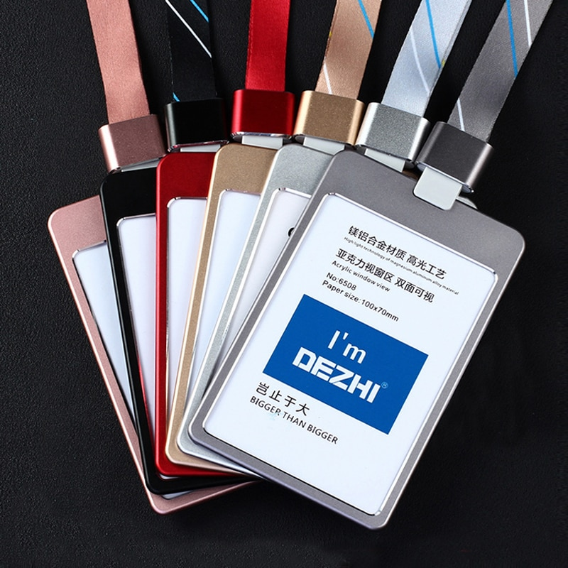 DEZHI-Quality Metal Badge Holder Plus Style Custom LOGO Card Holders with Lanyard Wholesale Price Exhibition Supplies