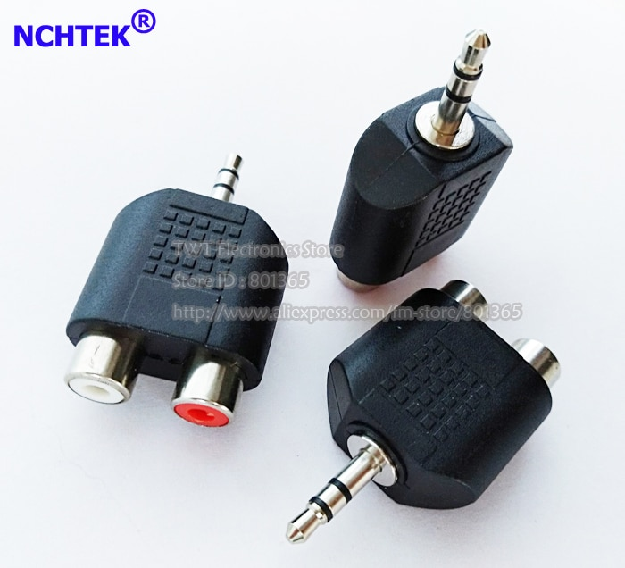 Adaptador de empalme hembra NCHTEK 3,5mm macho a 2 RCA Dual, de 3,5mm a RCA Adaptador de audio/envío gratis/200 piezas