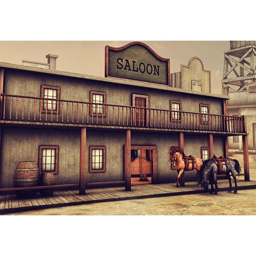 Vinilo Salvaje Oeste Saloon recién nacido niños Fotografía telón de fondo Cowboy fiesta FONDO PARA fotomatón impresión telón de fondo