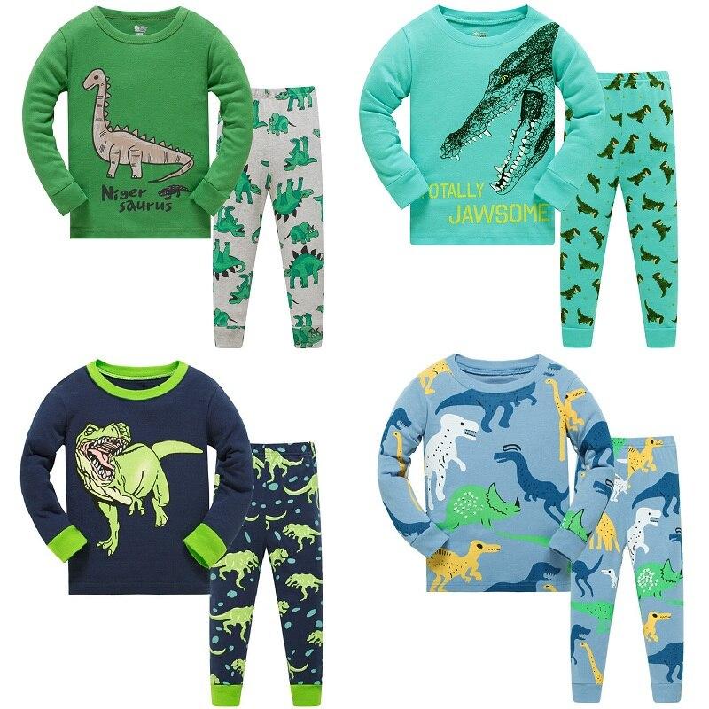 Niños pijamas de manga larga establece nuevo 2020 primavera otoño niña pingüinos niños pijamas con dinosaurios Animal 3 4 5 6 7 8 años Pjs ropa