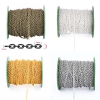 10m 2x3mm metal necklace chains bulk fit diy bracelets extended chains goldsilver color iron rolo link chain for jewelry making