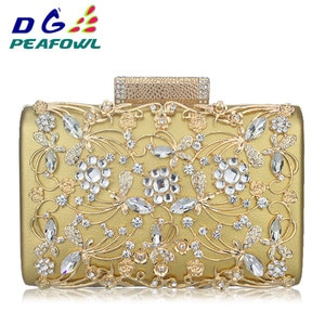 Fashion Prom Evening Bag Diamond Metallic Flower Clutch Bag Relief Luxury Handbag Banquet Party Purse Women's Shoulder Bag