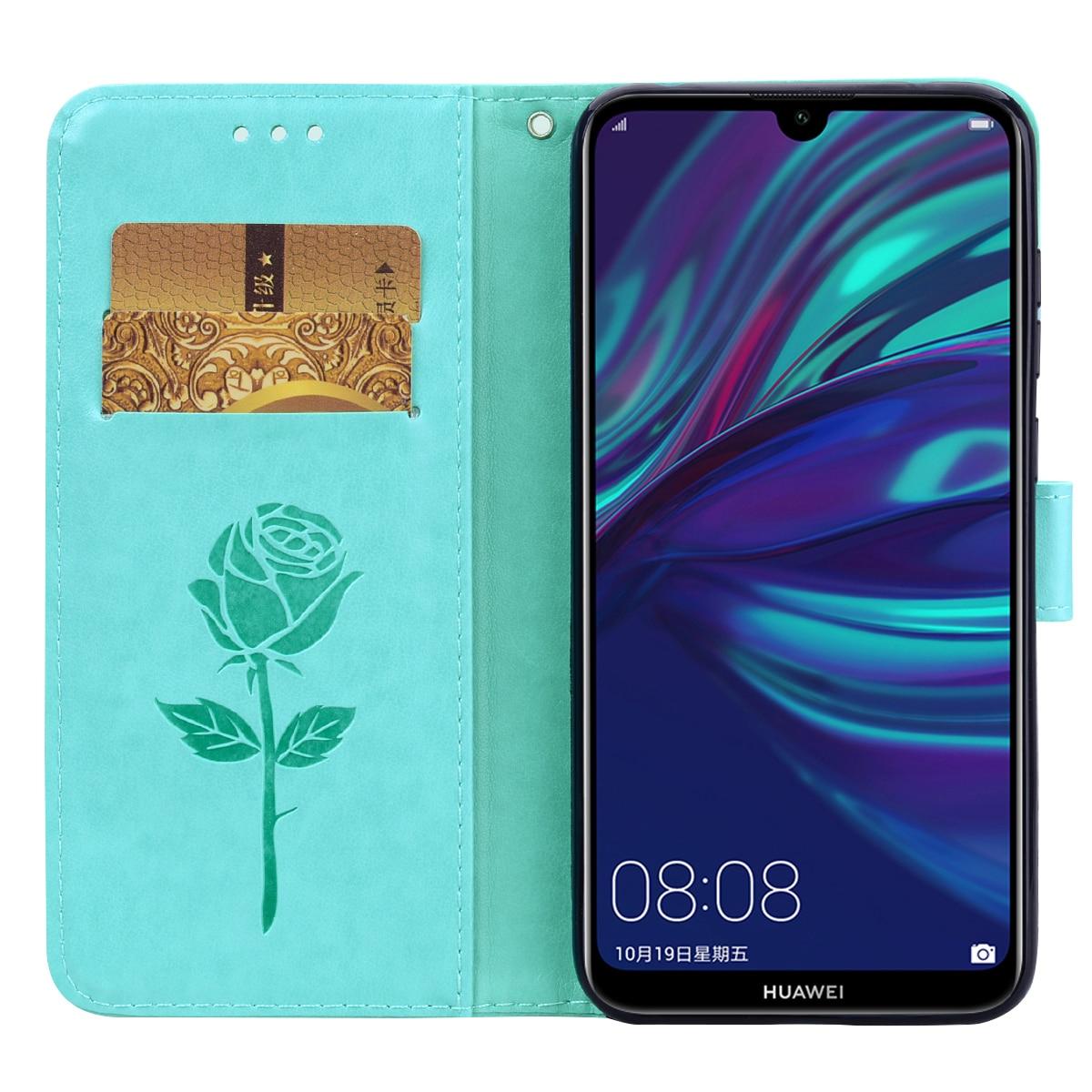 Funda de piel sintética con ranuras para tarjetas para Huawei Y7 2019,...