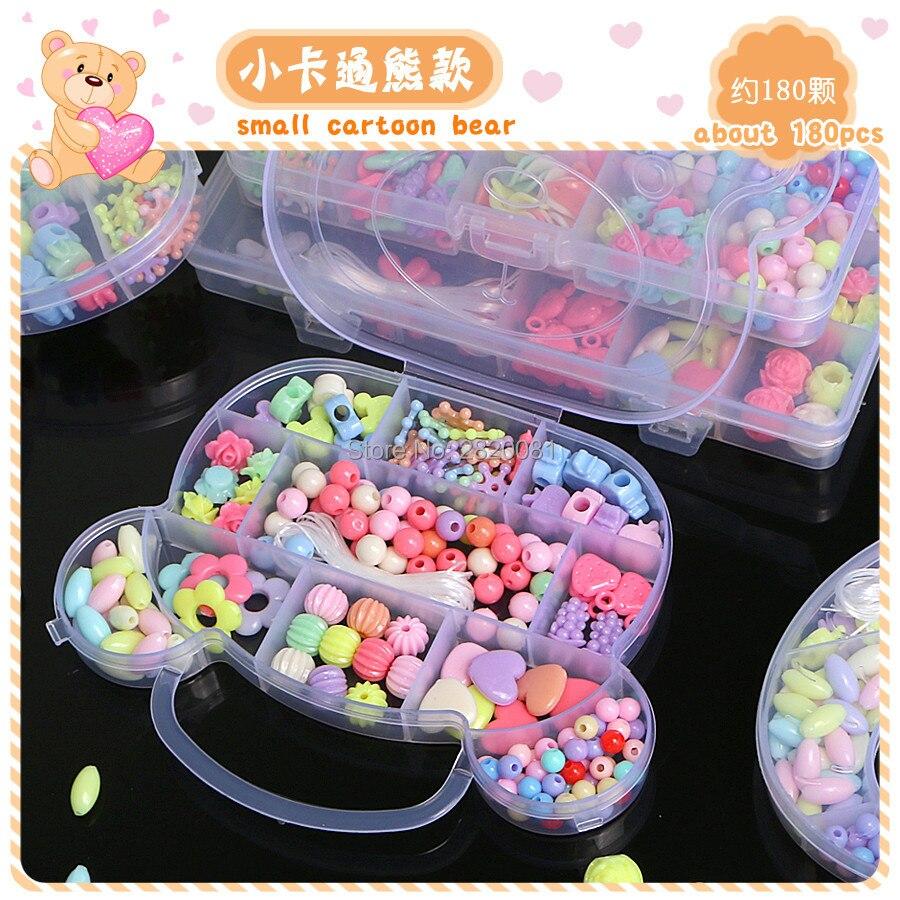 Пластиковые бусины для бижутерии «сделай сам», игрушки-головоломки для девочек, набор для сборки ожерелий и браслетов, развивающая креатив...