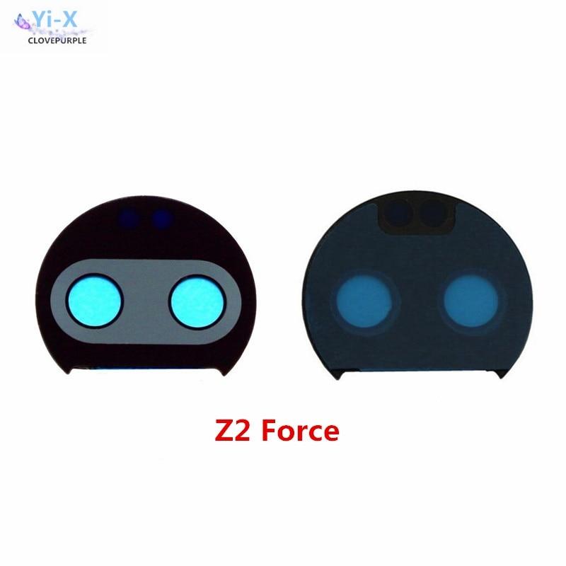 10 unids/lote de lentes para moto Z2 Force, cubierta de cámara trasera, lente de cristal para motorola moto Z2 Force con pegatina