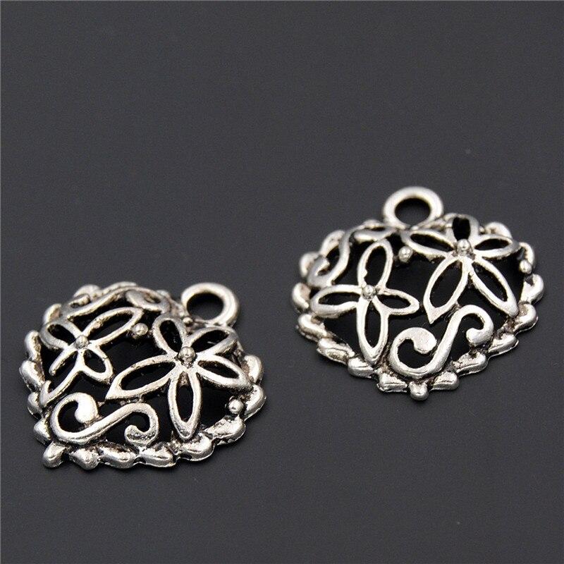 30PCS Retro Silver Color Zinc Alloy Flowers Heart Charms Pendant For Bracelet Necklace Making A2303